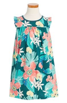 Main Image - Tea Collection Coral Fern Dress (Toddler Girls, Little Girls & Big Girls)
