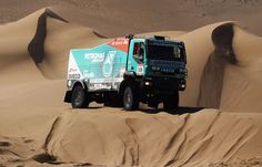 Jo Adua of France drives his Iveco truck over a sand dune during stage seven of the 2012 Dakar Rally on January 7, 2012 in Copiapo, Chile. (Bryn Lennon/Getty Images,)