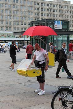 A walking hot dog stand Alexanderplatz