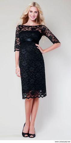 f631bc622e Amelia Lace Maternity Dress Short (Black) - Maternity Wedding Dresses