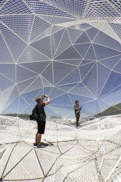 A web of triangulated mesh at Naoshima Pavilion by Sou Fujimoto, Naoshima, Japan, 2016.