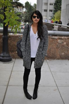 Long Cardigan - simple t - pants - boots