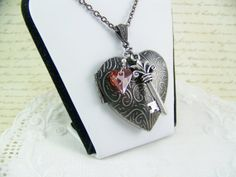 Antiqued Silver Heart Locket Silver Key by CreatedinTheWoods, $22.95