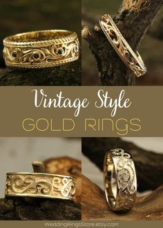 Vintage Style Gold rings for men and women by WeddingRingsStore. Vintage ring weaves with genuine stones. Vintage Engagement and wedding rings. White and Yellow Gold Wedding bands with stones - Citrine, Diamond, Emerald, Ruby, Sapphire, Topaz, Amethyst, Garnet, Peridot or Cubic Zirconia of different color. Vintage style wedding rings in white and yellow gold 14K. Vintage wedding gemstones rings for mens and womens. Anniversary gift for him #bohowedding #jewellery #vintagewedding #weddingring