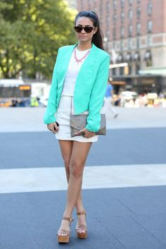 New York Fashion Week Street Style - Like the style and color coordination minus the necklace.