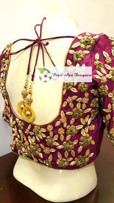 Shopzters is a South Indian wedding site Fancy Blouse Designs, Bridal Blouse Designs, Saree Blouse Designs, Embroidery Works, Embroidery Designs, Modern Saree, South Indian Weddings, Work Blouse, Embroidered Blouse