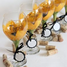 #Personalized sunflower goblets for the bridal party #JudiPaintedit #sunflower  #wineglasses
