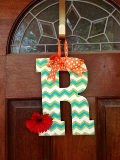 Chevron painted wooden letter, love this for the front door!