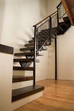 Wood and metal stairway.