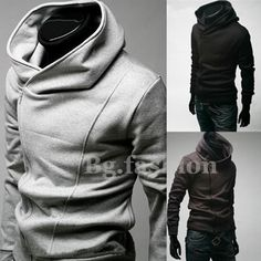 New Fashion Mens Slim Fit Sexy Top Designed Hoodies Jackets Coats 3 Color XS M L   eBay $20.48