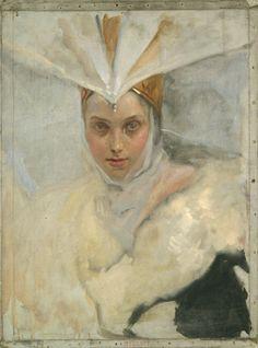 Edwin Austin Abbey - Woman with osprey headdress and white fur collar