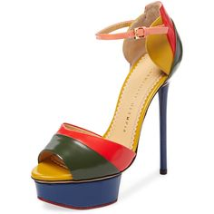 Charlotte Olympia Women's Modern Leather Platform Sandal - Size 34 ($479) ❤ liked on Polyvore featuring shoes, sandals, multi, leather high heel sandals, platform shoes, platform sandals, ankle wrap sandals and high heel platform sandals