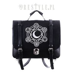 """MOON MESSENGER"" Bag Bacpack, black satchel, alchemical symbols ($45) ❤ liked on Polyvore featuring bags, messenger bags, messenger bag, courier bag, black satchel, satchel bags and black satchel bag"