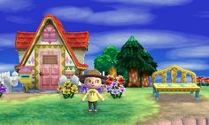 Animal Crossing: New Leaf Diary, Day 10: My second floor is complete! Fairy tale facade, fairy tale mailbox, and fairy tale bench.