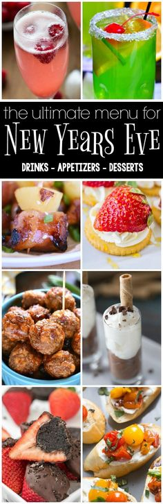 PinterestFacebookTwitterStumbleYummlyEmailThis is the ULTIMATE New Year's Eve Menu with 18 recipes for drinks, appetizers, and dessert. I'm hosting New Year's again this year and I can't wait to make one of each of these recipes for my party! From drinks to appetizers that will satisfy everyone to desserts for every taste, this is the ultimate …