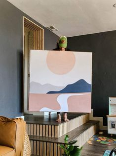 Ta DA! Large-scale art like this costs a pretty penny, so I'm so glad we were able to find a way to DIY it for much cheaper! How cool is this abstract mountain tapestry that we framed! Wall Decor Crafts, Frame Wall Decor, Diy Projects Using Wood, Large Scale Art, Fabric Wall Art, Manzanita, Farmhouse Decor, Easy Diy, Tapestry