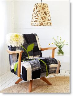 Patchwork Chair Cover - But you'd have to pry the cats off with a crowbar