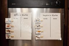 If I were to laminate magnets, I like the idea of them moving a picture of the chore from the to-do to the done side.