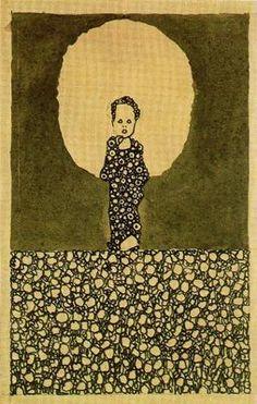 Egon Shiele. Niño con nimbo en un campo de flores.