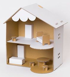 Doll house cardboard diy new ideas Cardboard Dollhouse, Cardboard Furniture, Cardboard Crafts, Barbie Furniture, Diy Dollhouse, Dollhouse Furniture, Cardboard Houses, Dollhouse Bookcase, Cardboard Paper
