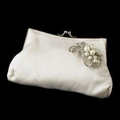 Silk Satin Evening Bag 202 with Antique Silver Clear & Diamond White Accent Brooch 211