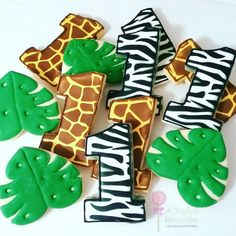 Safari or Zoo Animal Themed Birthday Sugar Cookies 1st