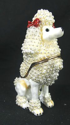 Poodle Dog Jeweled Pewter Trinket or Jewelry Box
