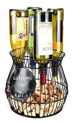 """Home-X """"Chalkboard """" Write A Note, Wine Corks Saving Cage Holds 4 Wine Bottles. *** See this great product."""