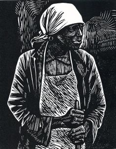 """Print from the 1946 series, """"The Negro Woman."""" by Artist Elizabeth Catlett"""
