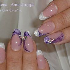 French nails One stroke Fancy Nails, Trendy Nails, Cute Nails, Cute Nail Art Designs, Nail Polish Designs, Fabulous Nails, Gorgeous Nails, Purple Nail Art, Latest Nail Art
