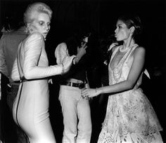Bianca Jagger and Angie Bowie in London, 1973