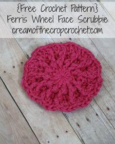 Cream Of The Crop Crochet ~ Ferris Wheel Face Scrubbie {Free Crochet Pattern } Crochet Kitchen, Crochet Home, Crochet Gifts, Crochet Yarn, Crochet Flowers, Easy Crochet, Free Crochet, Crochet Things, Beginner Crochet