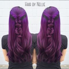 Purple hair and fishtail braid by Nellie Duclos. fb.com/hotbeautymagazine Mermaid Hair Unicorn Hair