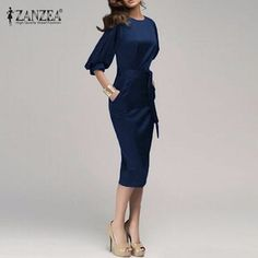 f98addf17eea M 6XL New 2017 Women Spring Autumn Work Office Dress Half Sleeve O Neck  Elegant Ladies Bodycon Bandage Slim Party Dress Vestidos-in Dresses from  Women s ...
