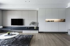 Limited, unlimited contemporary apartment designed by Taipei Base Design Center - CAANdesign Tv Console Design, Tv Wall Design, Cabinet Design, House Design, Living Room Wall Units, Living Room Interior, Home Living Room, Living Room Designs, Zeitgenössisches Apartment
