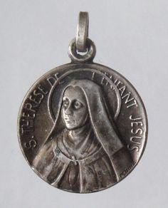 Saint Therese Vintage Religious Medal Pendant by CherishedSaints
