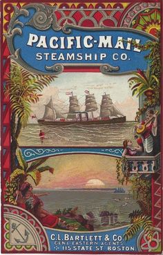 Victorian Trade Card   Pacific Mail Steamship Co
