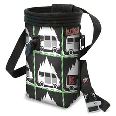 """Adventure Van Chalk Bag. Classic Handmade bag with Water-Resistant Rip-Stop, plated with a Unique Eco-Canvas Print, Reinforced with heavy nylon webbing. Polartek Fleece Lining with an adjustable Snag-Free Draw Cord, and 2"""" elastic grip to keep your chalk clean and where it needs to be. Zippered Pocket which fits the average-sized phone, so take a photo from the top or stash a snack. Adjustable Waist Band with a featured whistle buckle. Life-time Warranty. We love to see our bags used…"""