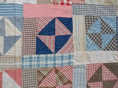 Late admire women who hand stitched a quilt. It takes a lot of time and work. Old Quilts, Antique Quilts, Scrappy Quilts, Vintage Quilts, Vintage Fabrics, Creative Circle, Primitive Quilts, Quilting Frames, Shirt Quilts