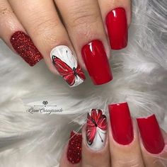 Butterfly nail art designs are loved by women because of its cute, colorful, beautiful patterns and symbolic significance, or simply because the design of butterfly nails has produced attractive effects on nails. Butterfly Nail Designs, Butterfly Nail Art, Red Nail Designs, Red Nail Art, Red Acrylic Nails, Red Nails, Spring Nail Art, Spring Nails, Summer Nails