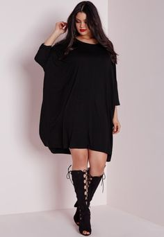 Plus Size Oversized T-Shirt Dress Black