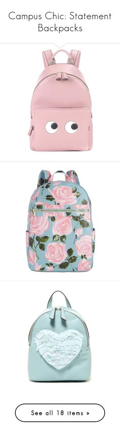 """""""Campus Chic: Statement Backpacks"""" by polyvore-editorial ❤ liked on Polyvore featuring statementbackpacks, bags, backpacks, backpack, pink, mini leather backpack, anya hindmarch backpack, real leather backpack, pink leather backpack and pink bag"""