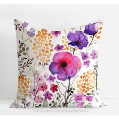 Materials :: Textiles :: Garden Flowers floral original design - linen/cotton throw Pillow Cover with invisible zipper by Senay Design Studio, $50