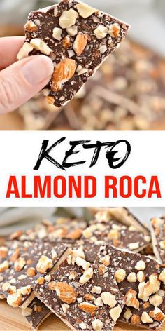 BEST keto dessert, keto snack or keto chocolate bark idea.Try a simple & quick homemade almond roca keto candy bar - stove top not ove Almond Roca, Low Carb Desserts, Easy Desserts, Low Carb Recipes, Holiday Desserts, Healthy Recipes, Gluten Free Recipes Videos, Radish Recipes, Low Carb Sweets