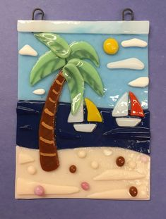 tack fused glass palm tree and sailboats - used Glassline paints for the palm tree details and Bullseye COE 90 glass. Broken Glass Art, Sea Glass Art, Glass Wall Art, Stained Glass Art, Glass Beach, Window Glass, Wood Glass, Fused Glass Ornaments, Fused Glass Plates