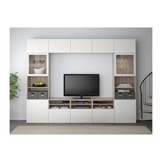 BESTÅ TV storage combination/glass doors, walnut effect light gray, Selsviken high gloss/white clear glass walnut effect light gray/Selsviken high gloss/white clear glass 118 1/8x15 3/4x90 1/2