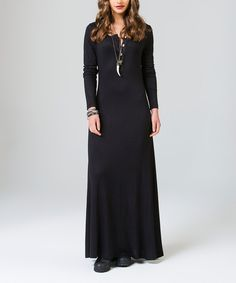 Look at this Black Button Maxi Dress on #zulily today!