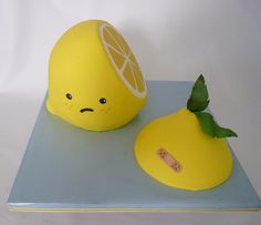 #Lemon #Cake With cute #Frown As it's been cut in two! We totally love and had to share! Great #CakeDecorating