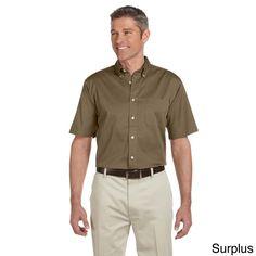 Men's Short-sleeve Twill Button Down Shirt