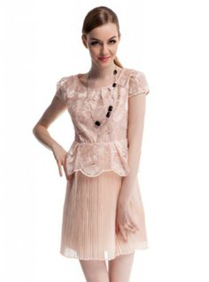 Apricot Stitching Lace Flowers Short-Sleeved Chiffon Dress ($89, original price is  $106.8) http://www.udobuy.com/goods-13632.html#.Us-KEtLEeeo